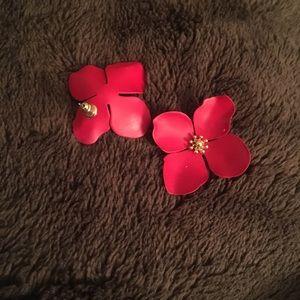 Anthropology red petal earrings